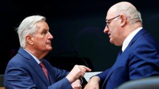 European Union Chief Brexit Negotiator Michel Barnier talks to European Agriculture and Rural Development Commissioner Phil Hogan during a weekly college meeting of the EU executive in Brussels, Belgium, January 30, 2019
