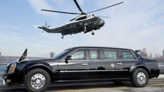 Президентский автомобиль и вертолет