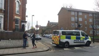 Police cordon in Clapham