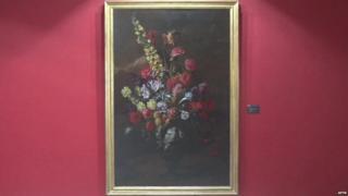 Still of APTN footage of Paolo Porpora's restored painting Flowers