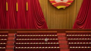 The empty Great Hall of the People in Beijing, China