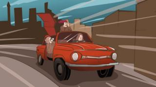 Illustration of three women in a car driving fast, two using binoculars