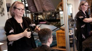 A hairdresser in Denmark, 20 April 2020