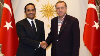 30 Temmuz'da Türkiye'yi ziyaret eden Şeyh Mohammed bin Abdulrahman bin Jassim Al-Thani, Cumhurbaşkanı Erdoğan'la birlikte.