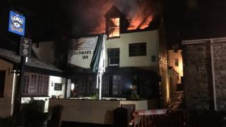 Newlyn fire. Pic: Dave King/Cornwall Fire Service/Twitter