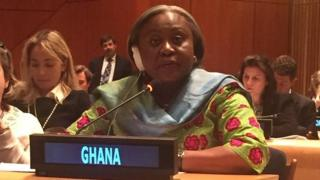 Ghana UN representative Martha Ama Pobee for UN meeting