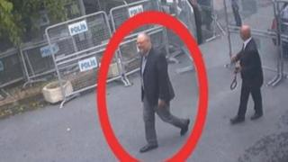 "A still image taken from CCTV video and obtained by TRT World claims to show Saudi journalist Jamal Khashoggi, highlighted in a red circle by the source, as he arrives at Saudi Arabia""s Consulate in Istanbul, Turkey on 2 October 2018"