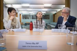 in_pictures Swedish climate activist Greta Thunberg meets Green Party Westminster leader Caroline Lucas (left) and Labour leader Jeremy Corbyn
