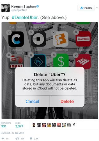 Tweet: Delete Uber? Yes, I'll do it