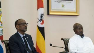 Rais Paul Kagame na Yoweri Mseveni