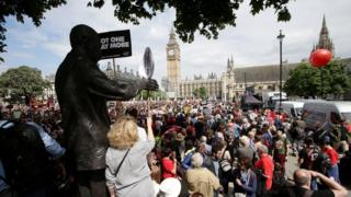 Crowds in Parliament Square