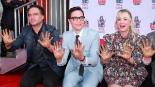 Big Bang Theory cast pose during their handprint ceremony