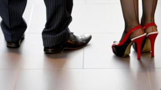 Shot of a man and a woman's shoes