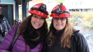 Ms Harris (l) and her friend Marisa Conde visited Llechwedd Slate Caverns during their trip
