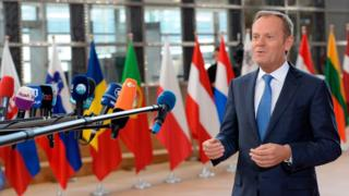 Donald Tusk speaks to the press upon his arrival to attend the EU leaders summit at the Europa building, the main headquarters of European Council and the Council of the EU, in Brussels, on April 29, 2017.
