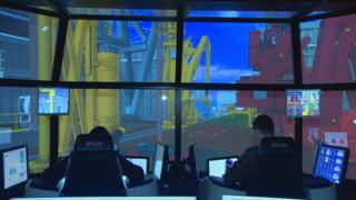 Drilling-rig simulator at Robert Gordon University where the technology can be tested