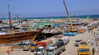 A general view taken on November 18, 2013 shows Bosaso harbor in Puntland.