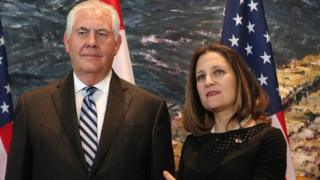 US Secretary of State Rex Tillerson and Canadian Foreign Affairs Minister Chrystia Freeland