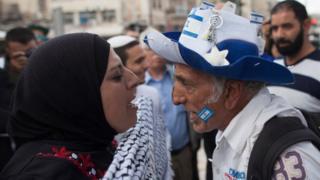 مشاهدة بين إسرائيلي وفلسطينية في القدس