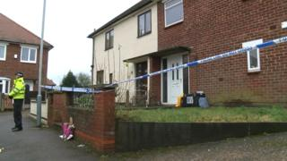 Police cordon off a house on Strathmore Close in Hucknall, Nottinghamshire