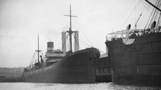Archival image of the SS Iron Crown in port