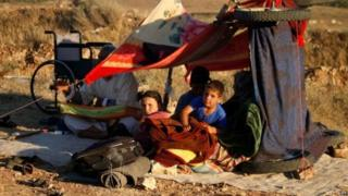 Displaced civilians have set up makeshift camps near the border with Jordan