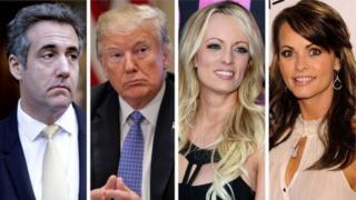kutoka kushoto: Michael Cohen, Donald Trump, Stormy Daniels na Karen McDougal
