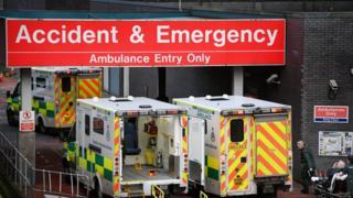 A&E at a hospital with ambulances