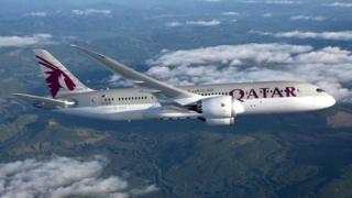 Picture of a Qatar Airways Boeing Dreamliner