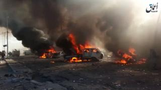Screengrab of video by IS-affiliated Amaq news agency purportedly showing the aftermath of the attack in al-Qaim (7 December 2016)