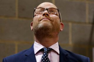 Paul Nuttall, leader of the UKIP reacts after failing to win the seat of Boston and Skegness.