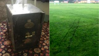 The safe and tracks it left on the cricket pitch