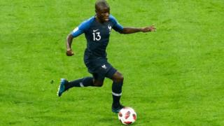 N'Golo Kante playing against Belgium at Russia 2018