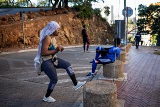 in_pictures Woman training on the street