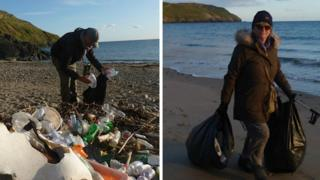 Tim and Ros Birch pick litter on Hell's Mouth beach