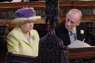 Queen Elizabeth II and Prince Phillip during the wedding service