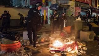 资料图片:旺角冲突现场