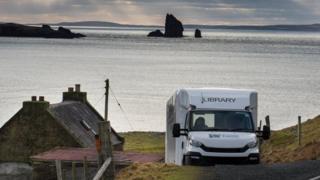 Shetland Library van at house