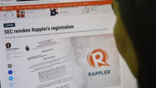 The Rappler news website is checked by a user in Manila, 15 January 2018