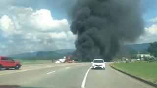 A picture of a plane crash involving a NASCAR driver in Tennessee