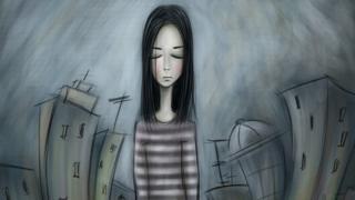 Üzgün kız çizim