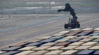 Hanjin Shipping container terminal at Incheon brand-new Port in Incheon, South Korea,