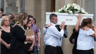 The funeral mass took place at St Columba's Church