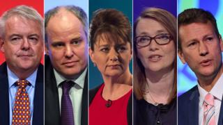 Party leaders from left to right: Carwyn Jones, Andrew RT Davies, Leanne Wood, Kirsty Williams and Nathan Gill