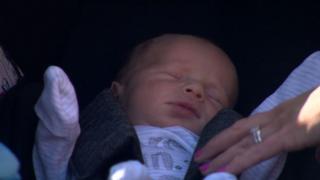 Jenson Jay Hooks in a baby holder