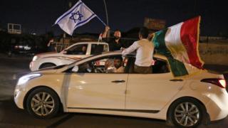 Bağımsızlık referandumundan 'Evet' sonucu çıkmasının ardından yapılan kutlamalarda İsrail bayrakları da dikkat çekmişti