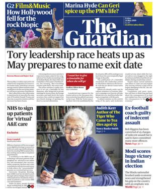 Guardian front page - 24/05/19