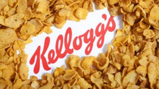 Illustrative image of the Kellogg's logo and famous branded corn flakes