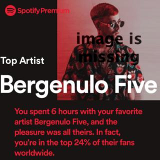 A Spotify end of year chart which claims you spent 6 hours with your favourite artist Bergenulo Five