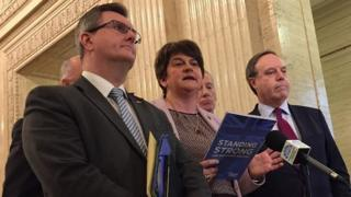 Arlene Foster and other DUP MPs speaking in Belfast
